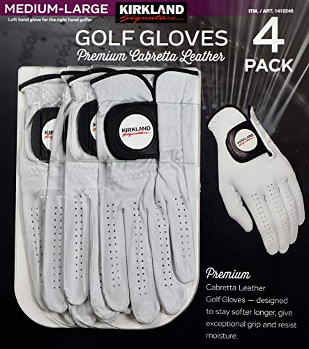 KIRKLAND SIGNATURE Golf Gloves Premium Cabretta Leather, Medium-Large, 4 Pack