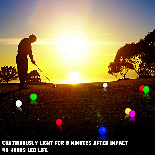 THIODOON Glow Golf Balls Led Golf Balls Glow in the Dark Golf Balls Flashing Golf Ball Light up Long Lasting Bright Night Sports 6 Colors for Your Choice 6 Pack