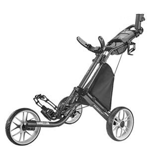 CaddyTek CaddyLite EZ Version 8 3 Wheel Golf Push Cart – Foldable Collapsible Lightweight Pushcart with Foot Brake – Easy to Open & Close