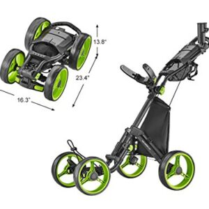CaddyTek 4 Wheel Golf Push Cart – Compact, Lightweight, Close Folding Push Pull Caddy Cart Trolley – Explorer V8