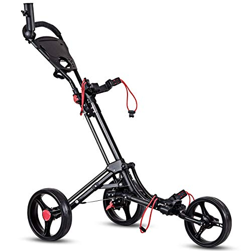 Tangkula Golf Push Cart, 3 Wheels Foldable Hand Cart, Easy Push and Pull Cart Trolley with Umbrella and Tee Holder, Quick Open and Close Golf Pull Cart