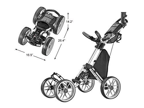 CaddyTek Caddycruiser One Version 8 – One-Click Folding 4 Wheel Golf Push Cart, Silver