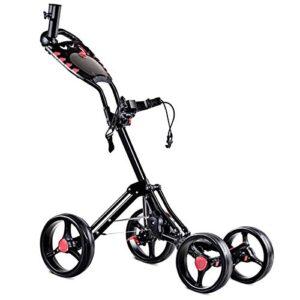 Tangkula Golf Push Cart 4 Wheels Folding with Umbrella Scorecard Drink Holder Golf Pull Cart