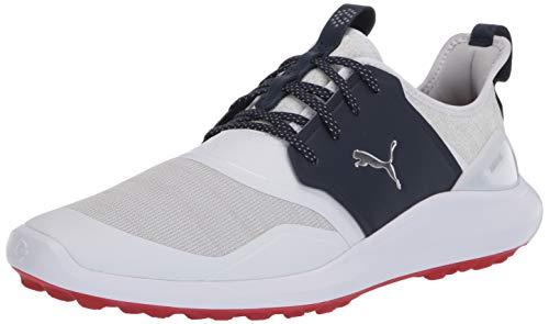 Puma Golf Men's Ignite Nxt Lace Golf Shoe, Puma White-Puma Silver-Peacoat, 10.5 M US