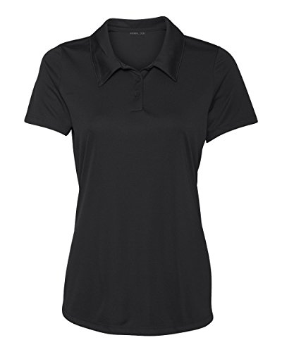 Women's Dry-Fit Golf Polo Shirts 3-Button Golf Polo's in 20 Colors XS-3XL Shirt Black-S