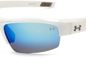 Under Armour Igniter Sunglasses Oval, Shiny White/Gray Blue Multiflection Lens, 60 mm