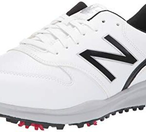 New Balance Men's Sweeper Waterproof Spiked Comfort Golf Shoe, White/Black, 12 4E 4E US