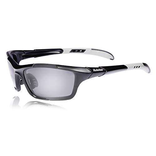 Hulislem S1 Sport Polarized Sunglasses FDA Approved (Matte Black-Smoke) Sunglasses For Men Women Mens Womens Running Golf Sports