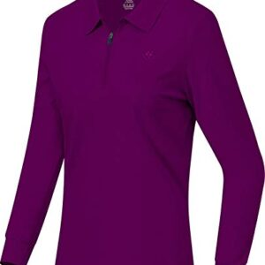 AIRIKE Long Sleeve Golf Polo Shirts for Women Slim Fit Sports Athletic Shirts for Tennis Work Bussiness with Zip Purple