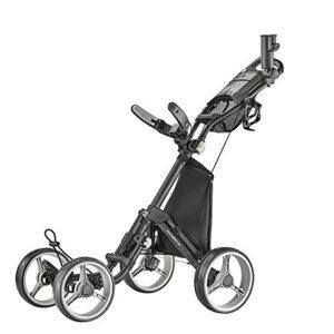CaddyTek 4 Wheel Golf Push Cart – Compact, Lightweight, Close Folding Push Pull Caddy Cart Trolley – Explorer V8, Dark Grey, One Size, Model: Explorer Vsersion 8 – Dark Grey