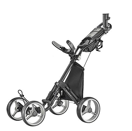 CaddyTek 4 Wheel Golf Push Cart – Compact, Lightweight, Close Folding Push Pull Caddy Cart Trolley – Explorer V8, Dark Grey, One Size, Model: Explorer Vsersion 8 – Dark Grey