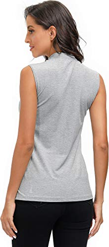 AIRIKE Golf Polo Shirts for Women Slim Fit Woman Sleeveless Sports Shirts Quick Dry Athletic Tank Tops for Tennis Work with Zipper Grey