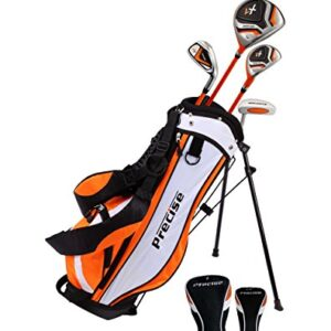 Precise X7 Junior Complete Golf Club Set for Children Kids – 3 Age Groups Boys & Girls – Right Hand & Left Hand! (Orange Ages 3-5, Left Hand)