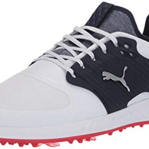 Puma Golf Men's Ignite Pwradapt Caged Golf Shoe, Puma White-Puma Silver-Peacoat, 11 M US