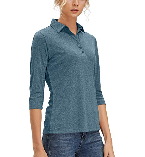 Women's 3/4 Sleeve V Neck Golf Shirts Moisture Wicking Performance Knit Tops Fitness Workout Sports Leisure T-Shirt (Navy Blue, XL)