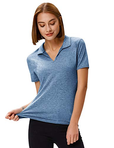 Women's Golf Shirts Mositure Wicking Outdoor Sports Racer Polo Shirts(S,Blue Grey)