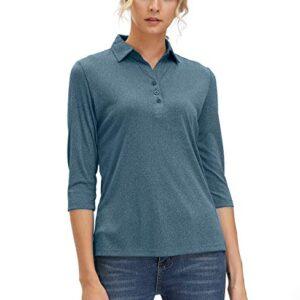 Women's 3/4 Sleeve V Neck Golf Shirts Moisture Wicking Performance Knit Tops Fitness Workout Sports Leisure T-Shirt (Navy Blue, XL)