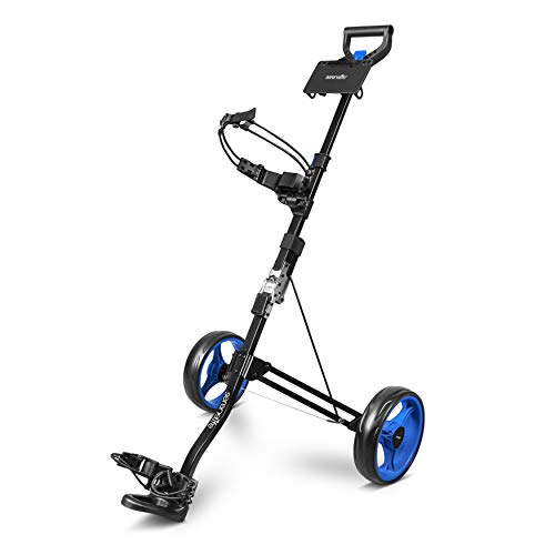 SereneLife 2 Wheel Golf Push Cart – Lightweight Folding Walking Push Cart Roller Golf Bag Holder w/Foot Brake, Upper/Lower Bracket w/Elastic Strap, Bag Storage Holder SLGZX3