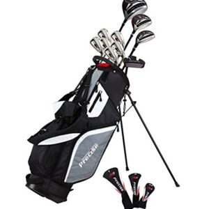 Top Line Men's Right Handed M5 Golf Club Set for Tall Men ( Height 6'1″ – 6'4″), Includes Driver, Wood, Hybrid, 5, 6, 7, 8, 9, PW Stainless Irons with True Temper Shafts, Putter, Stand Bag & 3 HCs