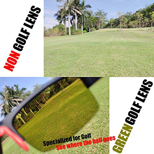 maivnz High Definition Golf Ball Finder Sport Glasses for Men Women Golf Sport Sunglasses Golf Sport Eyewear(Black Frame Green Golf Lens)