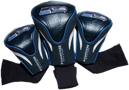 Team Golf NFL Seattle Seahawks Contour Golf Club Headcovers (3 Count), Numbered 1, 3, & X, Fits Oversized Drivers, Utility, Rescue & Fairway Clubs, Velour lined for Extra Club Protection