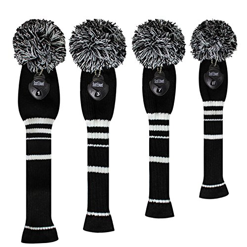Scott Edward Black Classic Stripes Golf Club Head Covers, Acrylic Yarn Double Layers Knitted, with Rotatable Number Tags, Set of 4