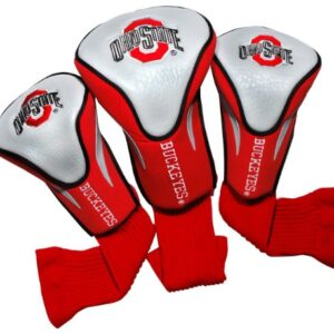 Team Golf NCAA Ohio State Buckeyes Contour Golf Club Headcovers (3 Count), Numbered 1, 3, & X, Fits Oversized Drivers, Utility, Rescue & Fairway Clubs, Velour lined for Extra Club Protection