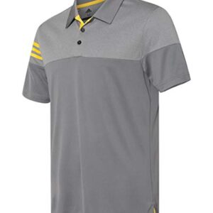 adidas Golf Mens Heather 3-Stripes Block Sport Shirt (A213) -Vista Grey -XL
