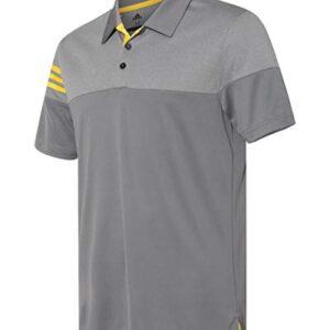 adidas Golf Mens Heather 3-Stripes Block Sport Shirt (A213) -Vista Grey -XL