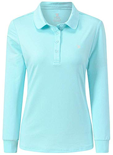 AIRIKE Golf Polo Shirts for Women Long Sleeve Colourful Quick-Dry Workwear & Activewear-Womens Athletic Apparel Green