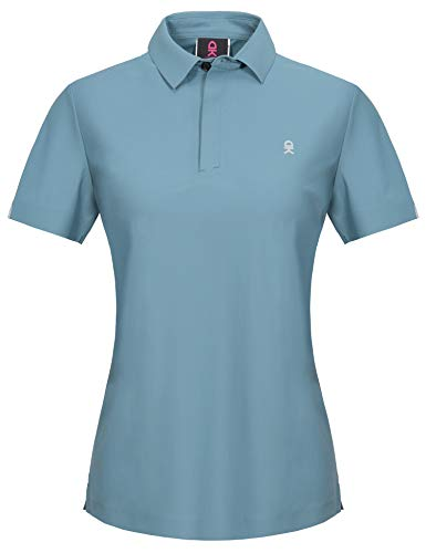 Little Donkey Andy Women's Stretch Short Sleeve Seamless Golf Polo Shirt with Laser Cuts, UPF 50, Quick Dry Blue M