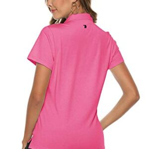 Rdruko Women's Dry Fit Golf Shirts Moisture Wicking Short Sleeve Polo Sports Shirts(Pink, US L)