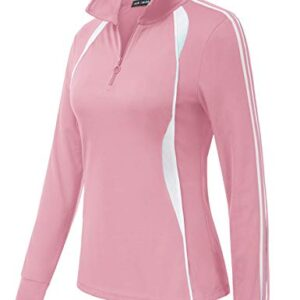 JACK SMITH Women's Soft Long Sleeve Golf Shirts Mositure Wicking Performance Sports Polo Shirts(S, Pink)