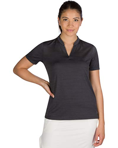 Three Sixty Six Women's Short Sleeve Collarless Golf Polo Shirt – Dry Fit, Breathable, Compression Golf Tops Black Onyx