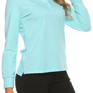 AjezMax Womens Golf Shirts Sport Long Sleeve Polo Shirts Basic Dry Fit Shirt Casual Blue,Medium
