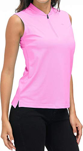 AIRIKE Golf Polo Shirts for Women Slim Fit Woman Sleeveless Sports Shirts Quick Dry Athletic Tank Tops for Tennis Work with Zipper Pink