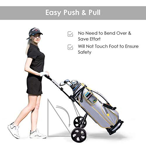 Haokanba 3 Wheel Push Pull Golf Cart – Foldable Hand Cart, Lightweight Golf Pull Trolley with Score Board,One Second to Open and Close,Black (Black)