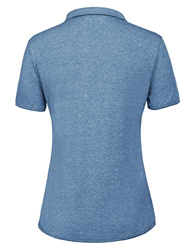 Women's Short Sleeves Golf Polo Shirts Tops V Neck Moisture Wicking(L,Blue Grey)