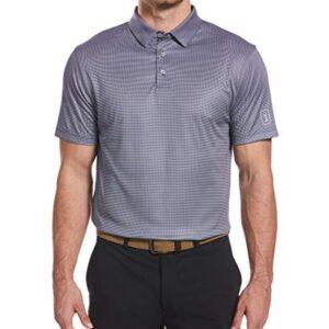 PGA TOUR Men's Mini Gingham Print Short Sleeve Golf Polo Shirt, Peacoat, X Large