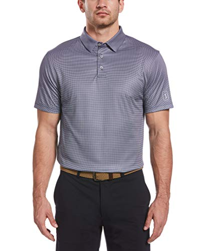 PGA TOUR Men's Mini Gingham Print Short Sleeve Golf Polo Shirt, Peacoat, X Large