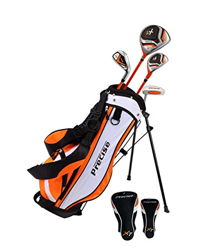 Distinctive Right Handed Junior Golf Club Set for Age 3 to 5 (Height 3′ to 3'8″) Set Includes: Driver (15″), Hybrid Wood (22, 7 Iron, Putter, Bonus Stand Bag & 2 Headcovers