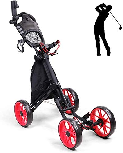 YAOJIA Golf carts 4 Wheel Folding Lightweight Golf Push Cart | ONE Second to Open and Close Golf Trolley with Umbrella Holder Golf Push cart