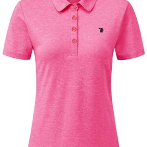 Rdruko Women's Dry Fit Golf Shirts Moisture Wicking Short Sleeve Polo Sports Shirts(Pink, US L)