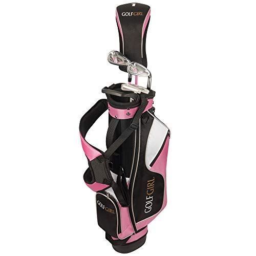 "Golf Girl Junior Girls Golf Set V3 with Pink Clubs and Bag, Ages 8-12 (4′ 6″ – 5'11"" Tall), Right Hand"
