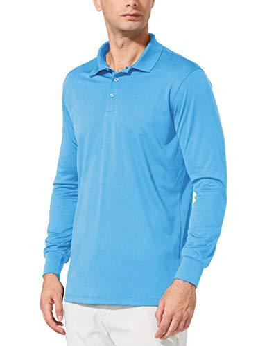 BALEAF Men's UPF 50+ Sun Protection Golf Polo Shirt Long Sleeve Tennis Quick Dry Shirt Performance Active Workout Shirt Blue Size S