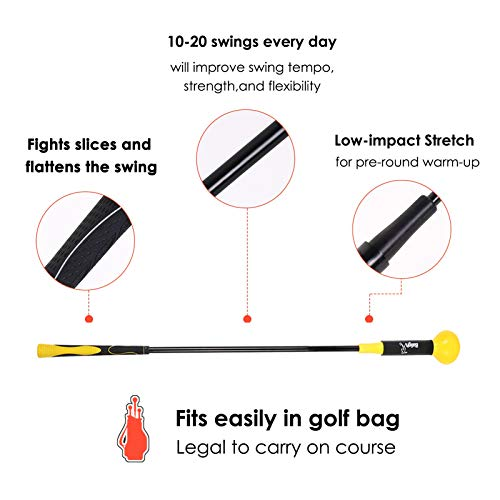 Greatlizard Golf Swing Trainers Training Aid Swing Trainer Golf Practice Warm-Up Stick for Strength Flexibility and Tempo Training(Yellow, 40 Inches)