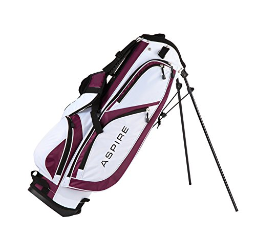 Aspire X1 Ladies Womens Complete Golf Club Set Includes Driver, Fairway, Hybrid, 6-PW Irons, Putter, Stand Bag, 3 H/C's Purple – Regular or Petite Size! (Petite Size -1″, Right Handed)