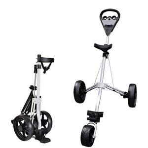 HLR Golf Push Cart 3 Wheel Golf Push Trolley, Folding Golf Pull Trolley, for Golf Bag Outdoor Golf Sport Training Match Airport Luggage Check Carrier Cart Golf Caddy