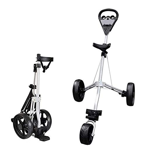 HLR Golf Push Cart 3 Wheel Golf Push Trolley, Folding Golf Pull Trolley, for Golf Bag Outdoor Golf Sport Training Match Airport Luggage Check Carrier Cart Golf Caddy