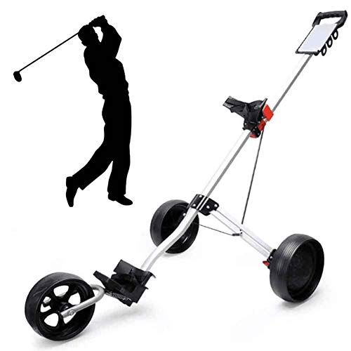 XFY Lightweight Foldable Golf Trolley, 3 Wheel Golf Push Carts, Quick Open and Close Golf Pull Cart, Collapsible Cart, Golf Push/Pull Cart